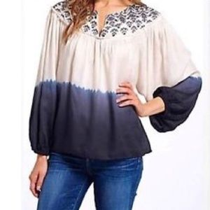 Floreat for Anthro, embroidered loose ombre top